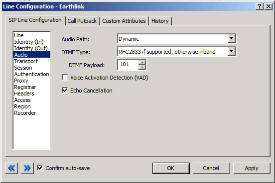 Figure 4: Audio Menu Line Configuration Page Audio Path This is, for the most part, the choice of the client with respect to the business being done on the server.