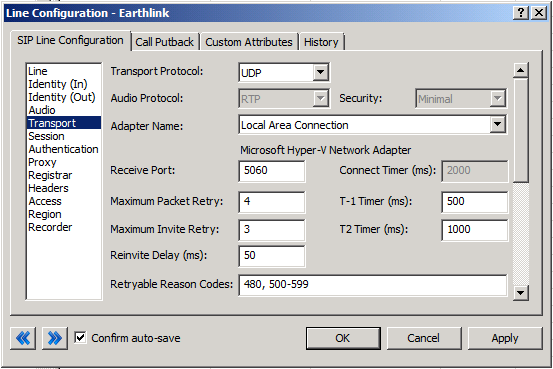 Transport Menu Figure 5: Transport Menu Line Configuration Page Transport Protocol This option should be set to UDP.