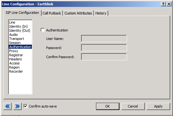 Authentication Menu Figure 7: Authentication Menu Line Configuration Page This box must be checked to enable authentication to the