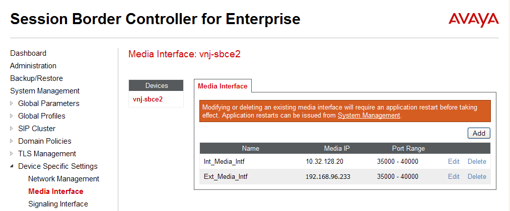 6.4. Media Interface A media interface defines an IP address and port range for transmitting media. Create a media interface for both the internal and external sides of the Avaya SBCE.