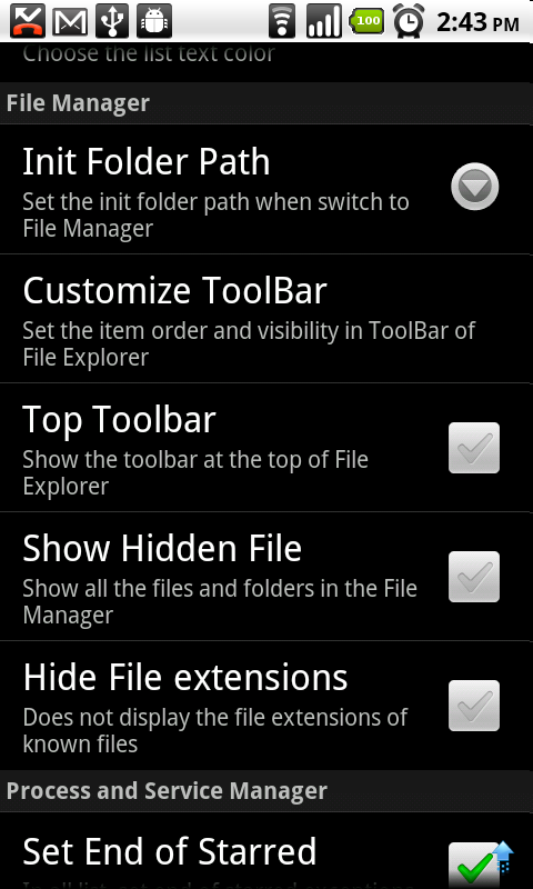 File Explorer (13) Settings for File Manager Init Folder Path The init folder path The Go Home item will jump to here