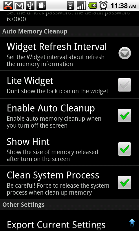 Task Manager Settings Some Settings about Task Manager (Clean Up) The widget will show the free RAM size, change the interval to decide how fast the value refresh.