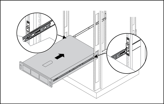 8. Snap the server into place. 9. Fasten the server to the rack, using the screws included in the rack kit as described in the rack kit instructions for preparing a server for shipment. a. Pull down the plastic retention lever on each side of the server.