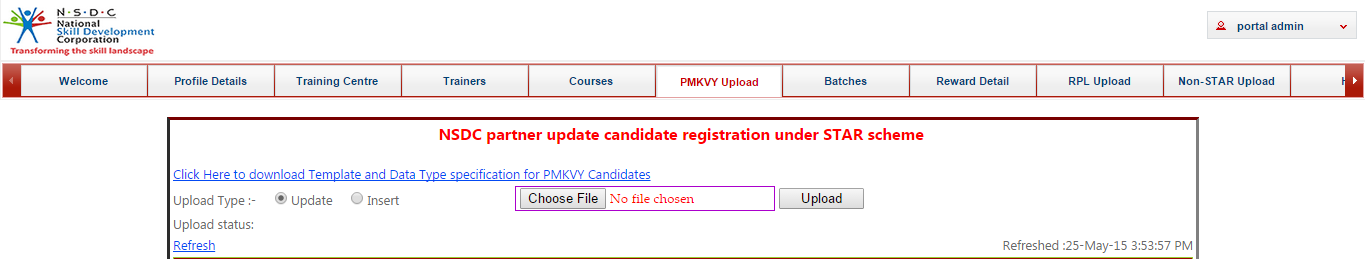 Updating Existing Candidates (Update Option) In case where training partner needs to update some fields of candidate information, they can do so by using bulk update feature.