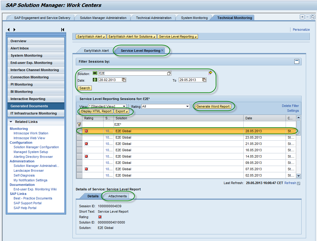 Business Process Monitoring in the SAP Solution Manager Figure 12 Display SLR report (display options) 4 Example Report 4.