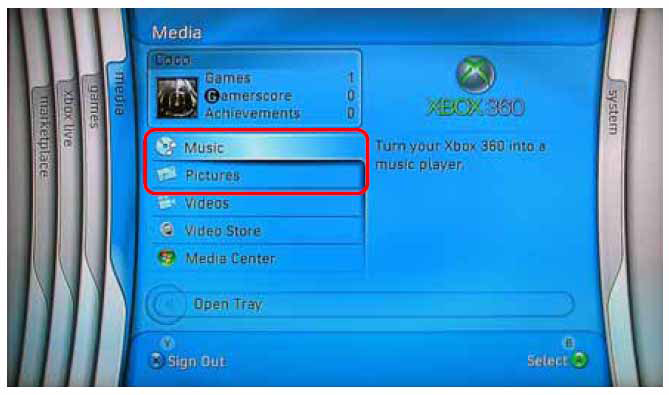 Same procedure applies for the Music and Video folders. On your Xbox 360, go to Media tab, select either Music or Pictures and press A button of the Xbox console to continue.