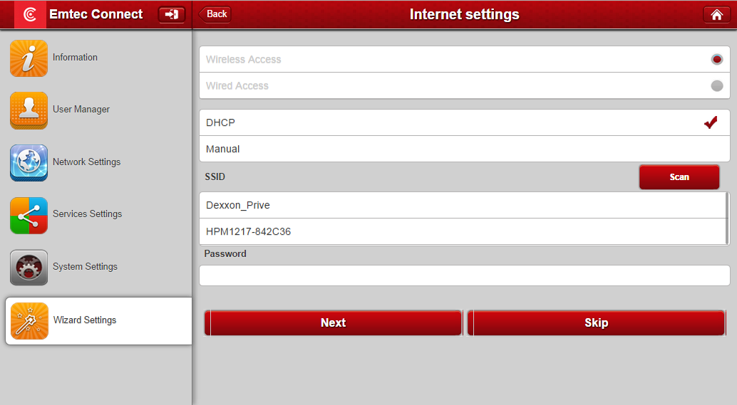 4.6.1. Step 1: Internet settings There are two available Internet Access options: - Wireless Access, connecting the Wi-Fi HDD to another wireless device to have the internet access.