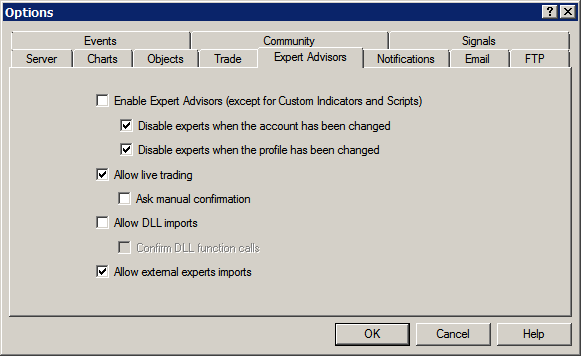 "Before Installing D.O.T.S. The next step before installation is to ""Allow DLL imports"" within MetaTrader 4.0. The D.O.T.S. Method indicator will not operate properly without this setting."