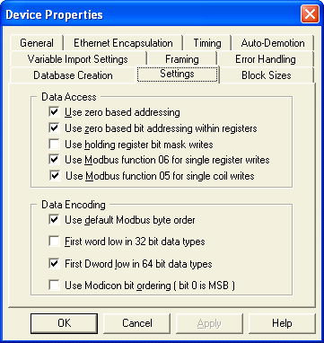 3. Add a new device (MODBUS serial) and set the following properties: 3.