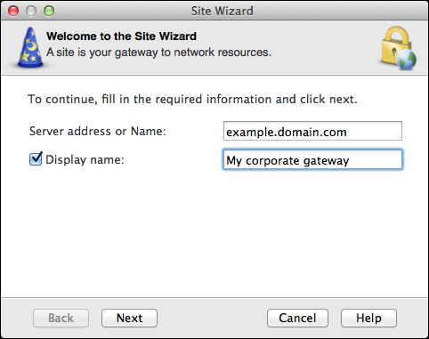 VPN To configure a site: 1. When asked if you want to configure a new site, click Yes. The Site Wizard opens. 2. Click Next. 3. Enter the IP address, or the name of the corporate VPN gateway.