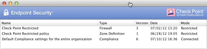 Introduction to Endpoint Security Advanced The Advanced page has these sections: Server Shows the Endpoint Server IP address, time and date of the last connection, and the connection status.