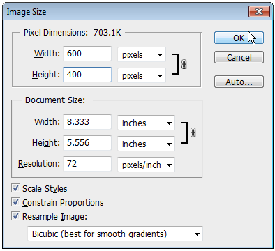 USING PHOTOSHOP TO ADJUST SIZE AND RESOLUTION THE IMAGE SIZE DIALOG BOX In Photoshop, go to the Image menu, and then select Image Size. You should see something similar to this screenshot.