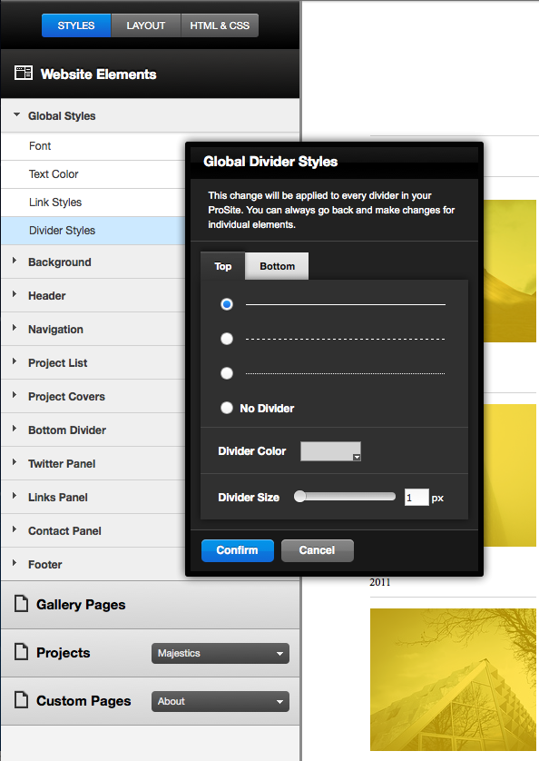 Customize Your Styles The Website Elements dropdown allows you to customize colors, fonts, background styles and more.