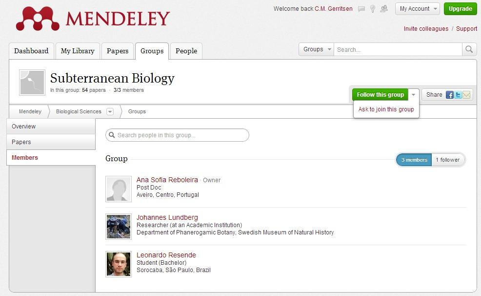 6.1 Create a group In the free version of Mendeley you can make only one private group of 3 people to share references and your work.