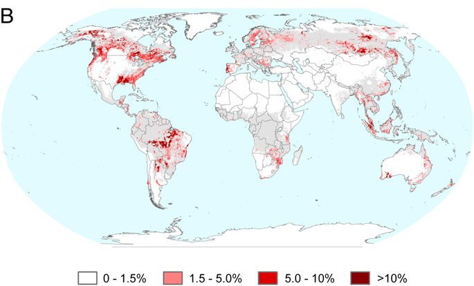 Percent gross forest cover loss 2000 2005