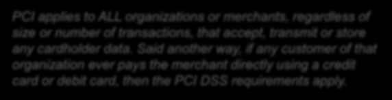 Commercial Cards The PCI DSS is administered and managed by the PCI Security Standards Council (SSC), an independent body that was created by the major payment card brands (Visa, MasterCard, American