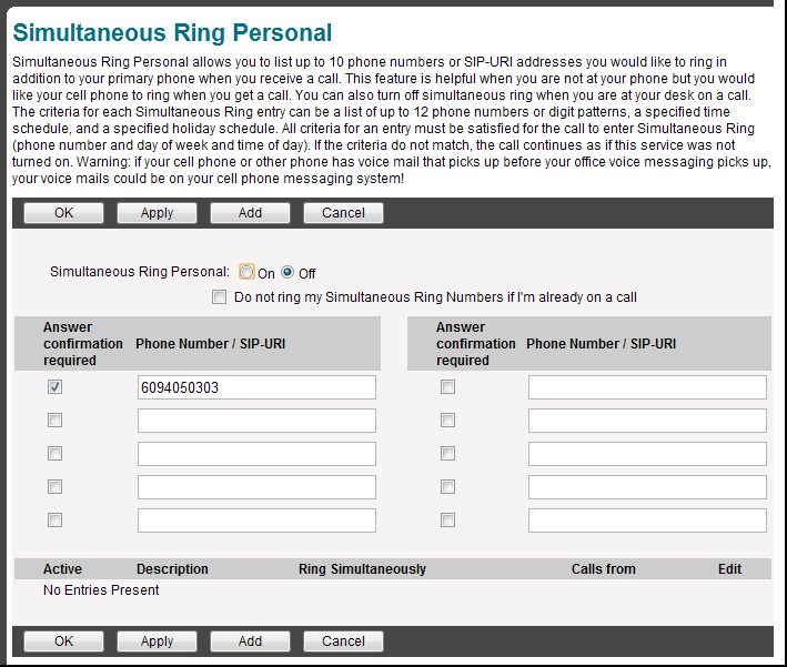 PLATINUM LICENSE FUNCTIONS Simultaneously Ring 1. Click on Incoming Calls on the left 2. Click on Simultaneous Ring Personal on the right of the screen 3.