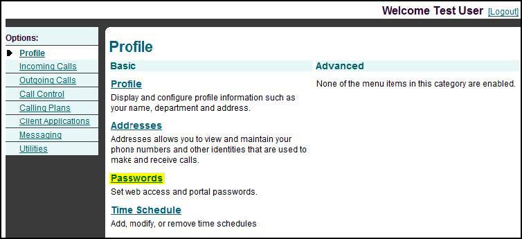 INTRODUCTION Changing Passwords In order to change the password for your web account, you should do the following: 1. Click on Passwords at the initial Welcome Screen show below: 2.