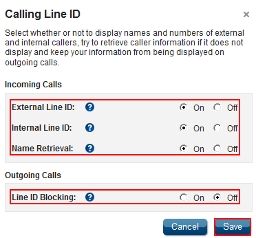 Calling Line ID Feature Description Calling Line ID provides the option to display or block the name and number for callers inside and outside a group.