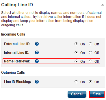 Calling Name Retrieval Feature Description Calling Name Retrieval is activated through Calling Line ID, and enables you to identify a caller s name using information from a source other than the Cox