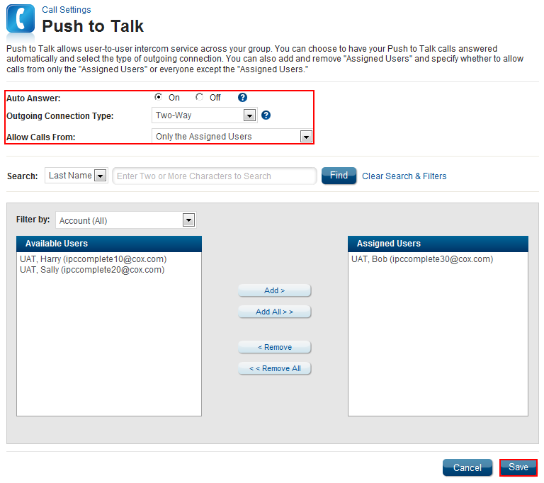 Push to Talk Feature Description Push to Talk provides user-to-user intercom service across an enterprise.