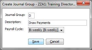 From within the Control File you ll want to go to the Payroll Cycles and Groups screen. Click side of the screen. in the lower right The following window will appear.