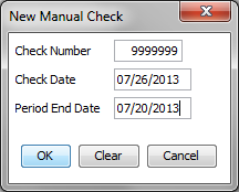 The following window will appear. Enter the Check Number, Check Date and Period End Date and click OK.