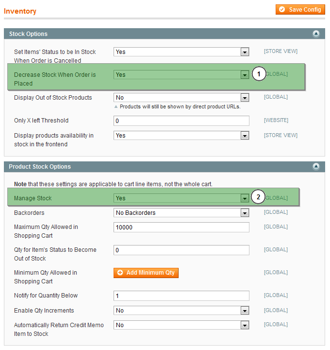 Figure 11 - Inventory Settings in Magento Step 1 - Installation of the Megaventory extension in Magento It is assumed that the Magento ecommerce software (community edition) has been downloaded and