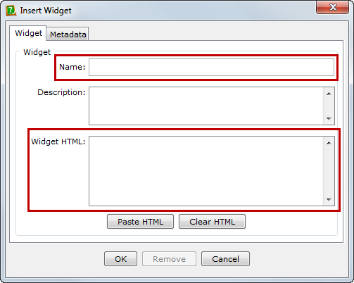 2. Choose Insert Widget. 3. The Insert Widget dialog box will open (Figure 31). Figure 31. Adding a YouTube video Widget. 4. Enter a name for your Widget (such as the topic of the video). 5.