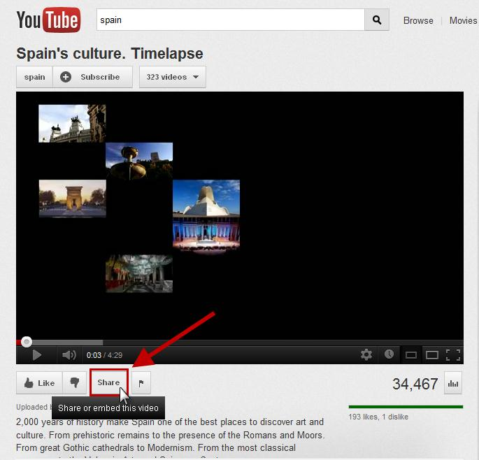 Figure 32. Share button on YouTube. c.