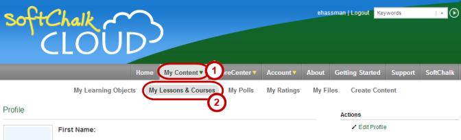 Figure 58. Accessing your lessons from the SoftChalk Cloud website. 5. The lessons you have published to the Cloud appear.