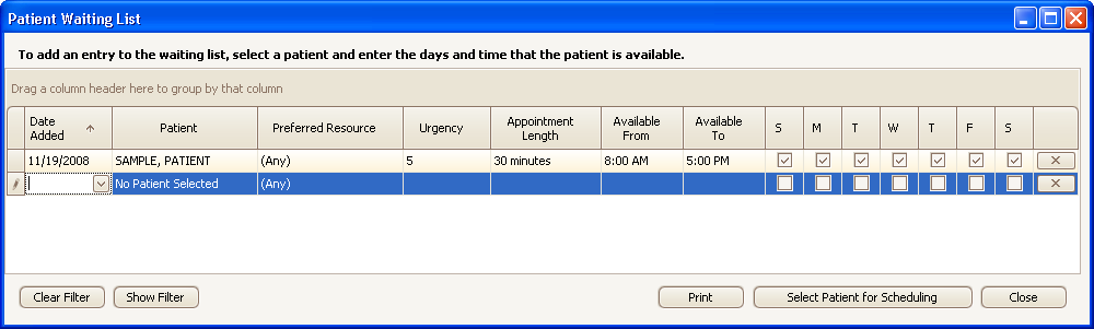 Appointment Waiting List To open the waiting list, click the Appointment menu and select Waiting List.
