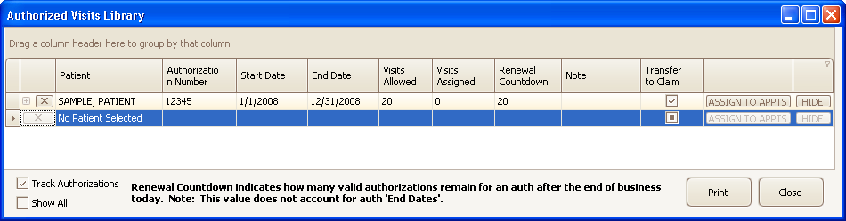 Tracking Authorizations Overview EZClaim s Scheduler program can track patient visit authorizations.