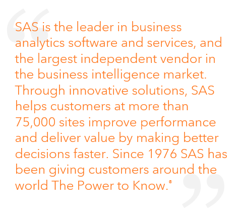 "ABOUT SAS COMPANY INFORMATION SAS (pronounced ""sass"") once stood for ""statistical analysis system."