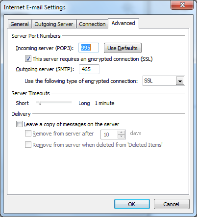 9. Select the fourth tab titled Advanced and tick the This server requires an encrypted connection (SSL) checkbox. This automatically changes the incoming server port number from 110 to 995.