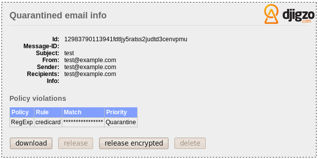 Figure 6: Quarantined email Even though all communication between With Djigzo for BlackBerry, the carriers BIS and a BlackBerry smartphone is encrypted, data from the carriers is S/MIME encrypted.