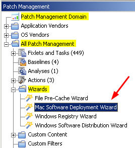 Figure 5. Mac Software Deployment Wizard from the navigation tree 2. Enter the name of the application that you want to deploy and click Next. 3. Specify the software source file.