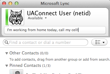 Once signed onto Lync, simply click the presence menu under the user name/netid and select the desired presence state.