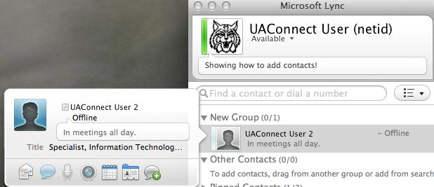 Viewing Contact information and Checking Availability It is possible to view expanded information of your Lync contacts.
