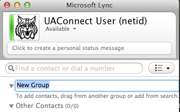 Creating and Managing Contact Groups You can use groups to organize your contacts. A contact can be placed into more than one group To create a group simply Sign into Lync.