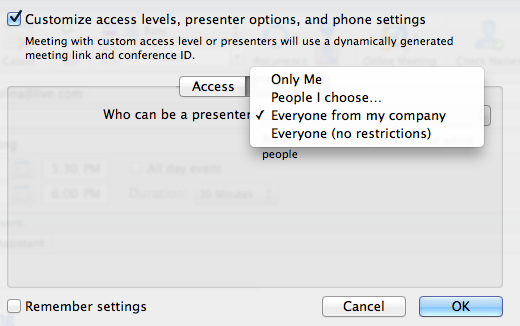 If you click Presenter you are shown Presenter options.