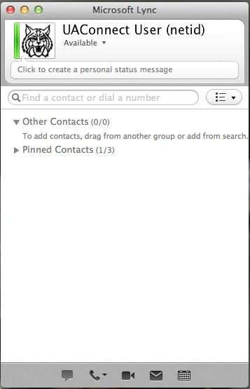 Quick Overview When you sign into Lync, you will immediately see the main Lync window with the contact list displayed.
