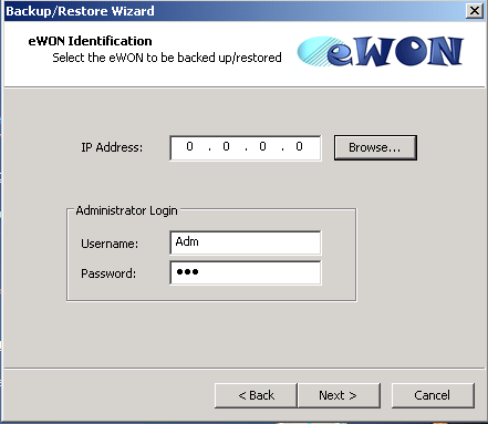 14. Backup and Restore After having chosen, click on the «Next»button and specify the IP address of the ewon.