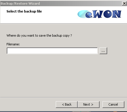 14. Backup and Restore When you have selected your ewon in the list and clicked on the «Next» button, a Select the Backup File window appears.