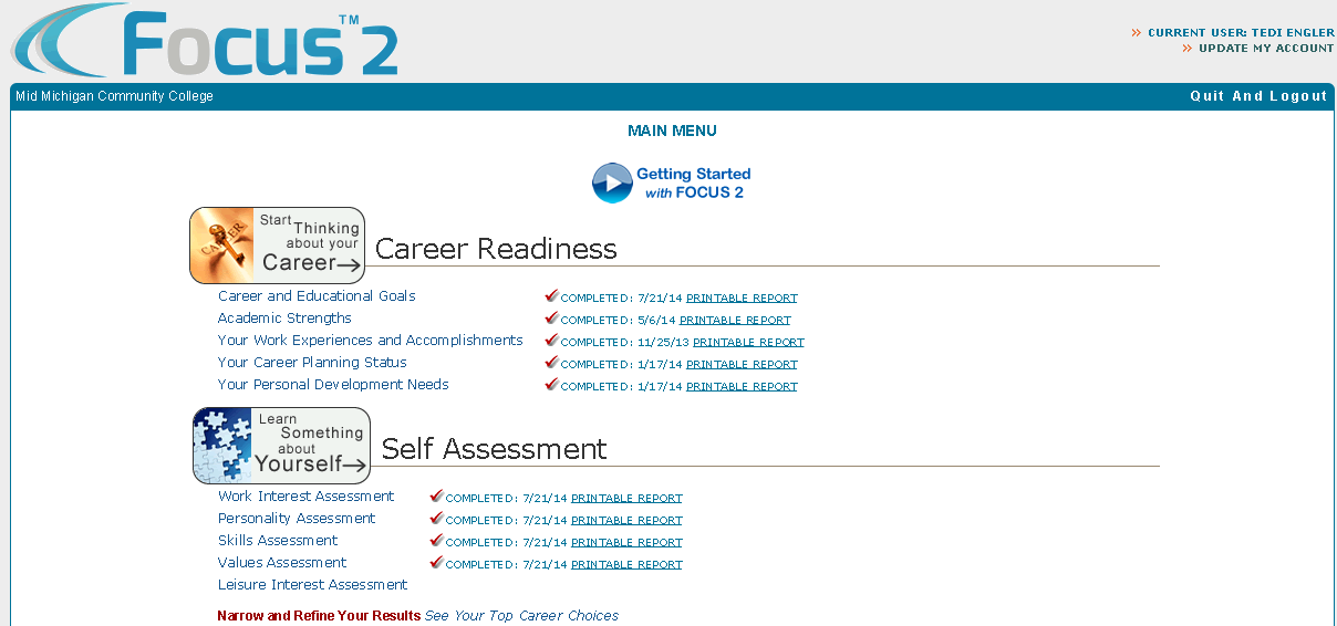 Focus 2 Home Page The six required modules come from these two sections Printable reports can be