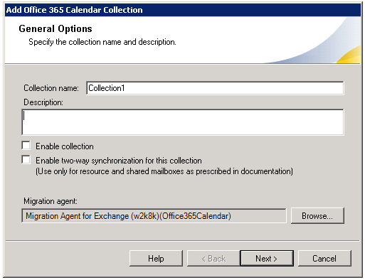 Step 1: Specifying General Options Quest Migration Manager 8.10 - Migrating to Microsoft Office 365 In the first step of the wizard, specify a name for the collection.
