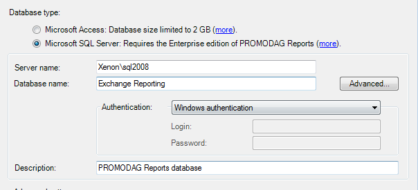 Creating an SQL Server database Getting started with PROMODAG Reports 27 Enter the name of the SQL server and specify the name of the new SQL database. You may also add a description (optional).