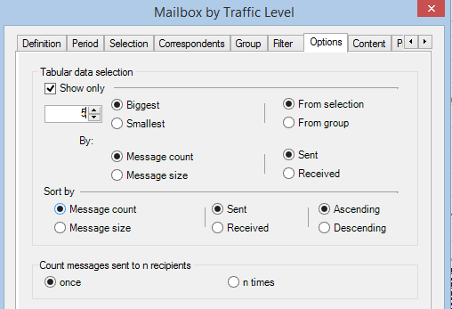 Getting started with PROMODAG Reports 37 'Count a multiple sending as'section : A message sent to n recipients is counted as 1 sent message or n sent messages.
