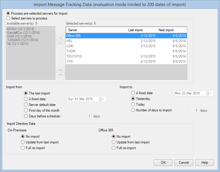 Getting started with PROMODAG Reports 43 2. Adding actions to the batch file Select Import Message Tracking Data in the Actions tree, then click the button.