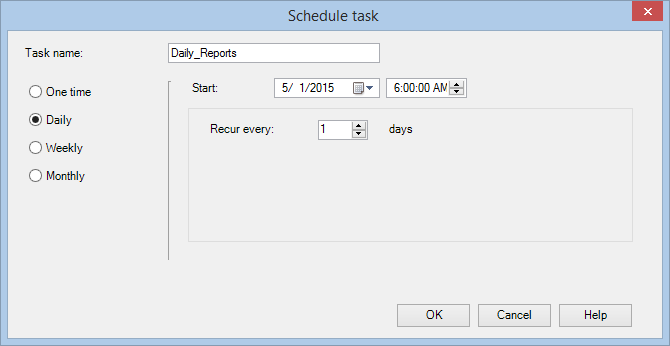 3. Scheduling the batch file Getting started with PROMODAG Reports 49 In the Task Automation window, select the batch you have just created and open the Schedule option.